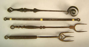 Two Pennsylvania wrought iron flesh forks ca 1800