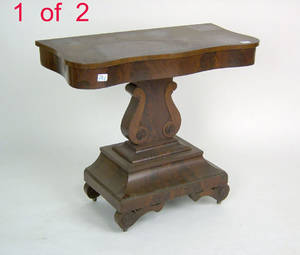 Two Empire mahogany card tables