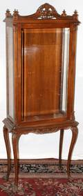 022381 FRENCH CARVED CURIO CABINET C 1920 H 54