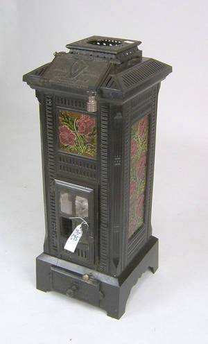 French cast iron stove with ceramic tiles