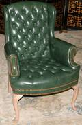 021418 QUEEN ANNE GREEN LEATHER WINGBACK CHAIR