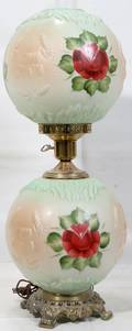 020378 GONE WITH WIND LAMP MILK GLASS GLOBES C 1960