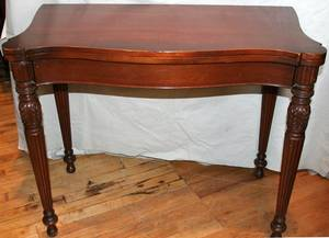 012339 SHERATON MAHOGANY FLIP TOP CARD TABLE 19TH C