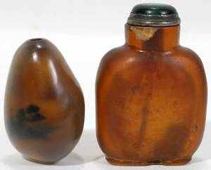 011501 CHINESE BROWN GLASS SNUFF BOTTLES C19201930
