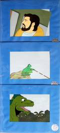 052424 INT ANIMATED CELS 3 1980 8 X 12 GODZILLA