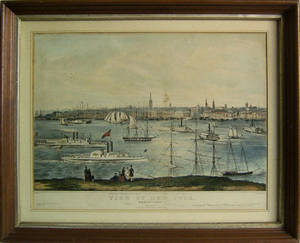 Two Nathaniel Currier lithographs titled View of New York and General Z Taylor