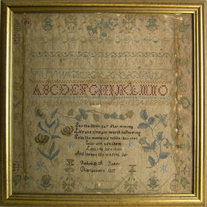 Silk on linen sampler dated 1812