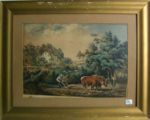 Currier  Ives color lithograph American farm scenes