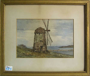 Watercolor landscape with windmill