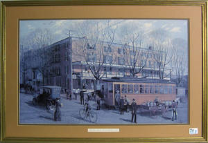 Two Barclay Rubincam lithographs of West Chester street scenes