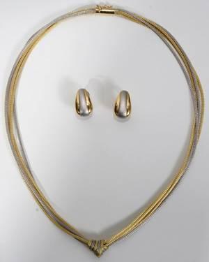 042377 VENETIAN 14KT YELLOW GOLD NECKLACE  EARRINGS
