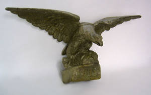 Cast iron spread winged eagle architectural ornament dated 1917