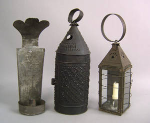 Two tin hanging lanterns 19th c