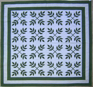 Green calico applique quilt ca 1900