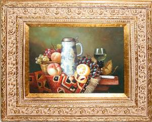 032452 DECORATIVE OIL ON BOARD STILL LIFE OF FRUIT