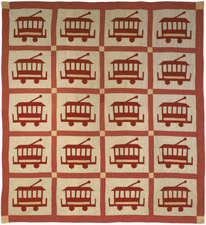 Red and white pieced and applique calico quilt ca 1910