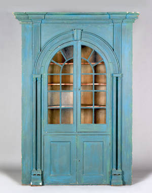 Pennsylvania painted pine architectural corner cupboard ca 1810