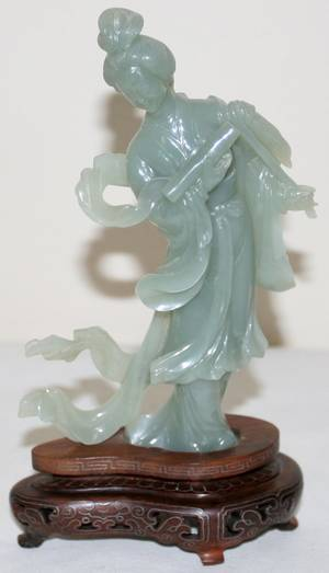 031479 CARVED STONE SERPENTINE FIGURE OF QUAN YIN