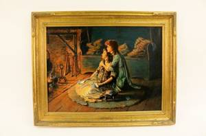 Signed American Oil of Two Sisters