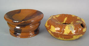 Two Pennsylvania redware spittoons 19th c