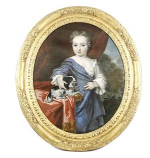 French 18th C Portrait of Young Aristocrat w Dog