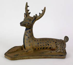 Exceptional stoneware figure of a recumbent stag probably western Pennsylvania ca 1875