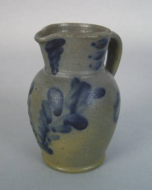 Pennsylvania miniature blue decorated stoneware pitcher late 19th c