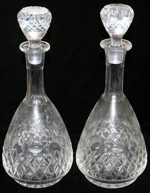 020429 CUT GLASS DECANTERS TWO H 13 14  13 12
