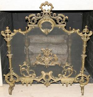 012395 FRENCH BRONZE FIREPLACE SCREEN 19TH C