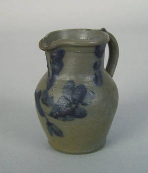 Miniature blue decorated stoneware pitcher ca 1880