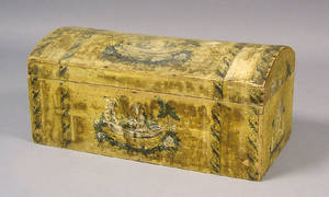 New England dome lidded wallpaper box ca 1820