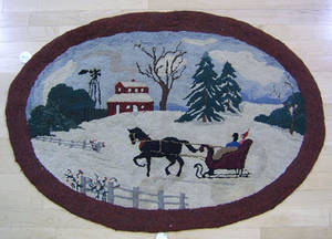 Three Amish hooked rugs