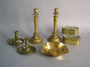 Group of brass to include a pair of chambersticks