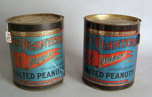 Pair of Planters Peanut tins