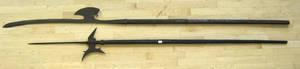 Two wrought iron pole axes