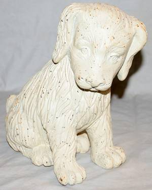 050470 PAINTED CAST IRON FIGURE OF A PUPPY H 10