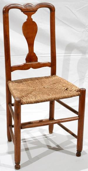 031533 AMERICAN PINE SIDE CHAIR WRUSH SEAT ANTIQUE