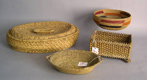 Four woven baskets