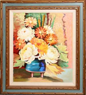 022479 S M DAVID OIL PAINTING 24 X 20 ZINNIAS