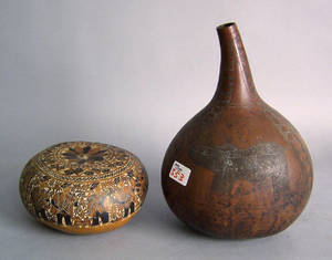 Two South American gourd containers