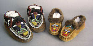 Pair of Iroquois beaded moccasins