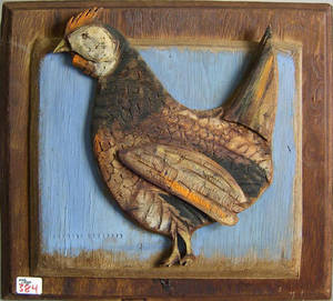 Bernard Langlais painted chicken plaque