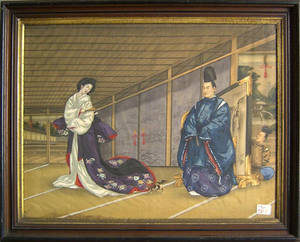 Japanese painted silk interior scene