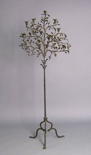 Wrought iron floor standing candelabra