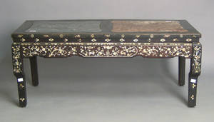 Chinese inlaid and marble top table