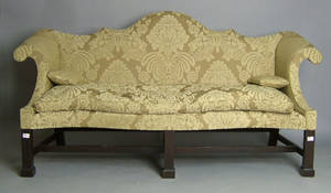 Alan Miller Chippendale style double peak sofa