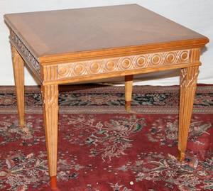 050505 FRENCH CARVED WALNUT CARD TABLE H 24 W 29SQ