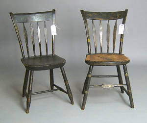 Four painted windsor side chairs