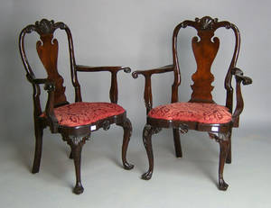 Pair of Stickley Queen Anne style armchairs