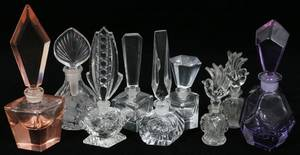 041543 CRYSTAL  GLASS PERFUME BOTTLES NINE